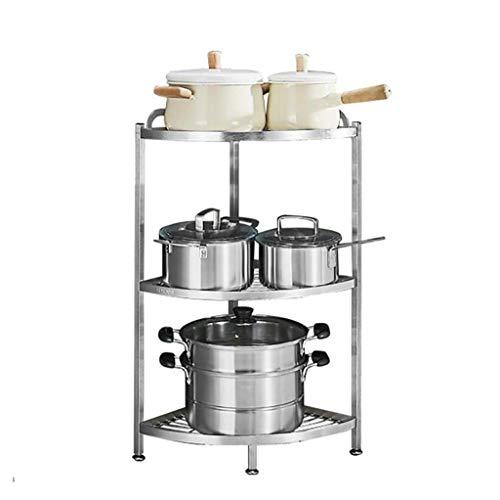 MYPNB Mensola del Bagno Cucina deposito mensola in Acciaio Inox 304 Triangolo Pavimento Multistrato Angolo Cottura Mensola Mensola ripiano scaffale vegetale Shelf (Size : B)