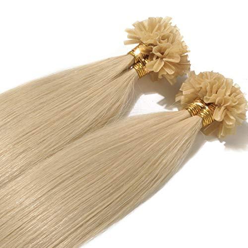 Extensions Echthaar Bondings 1g 100% Remy Echthaar Haarverlängerung Keratin Bonding 50 Strähnen 60cm (#613 hellblond)