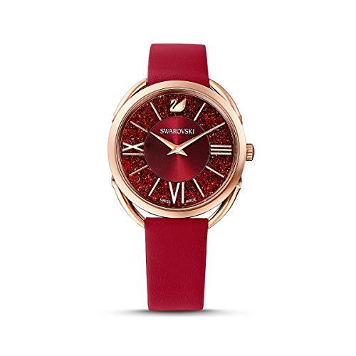 Swarovski Reloj Crystalline Glam, correa de piel, rojo, PVD tono oro rosa