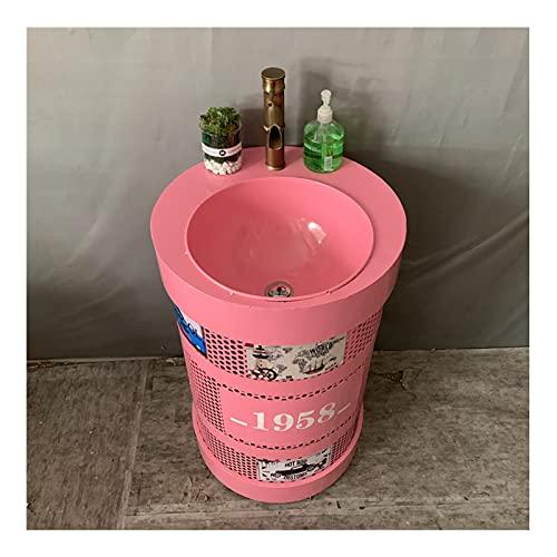 YLR Lavabo con Pie Baño Metal Retro, Lavamanos Estilo Industrial Desgaste Resistente Al Desgaste, Fregadero De Pedestal Creativo para Barras De Hogar Restaurantes Decoración 50x50x83cm(Color:Rosa)