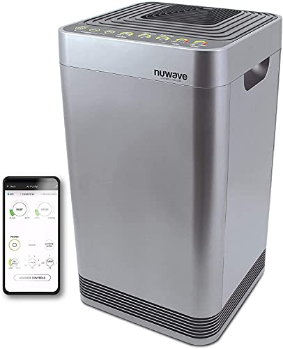 NuWave OxyPure Air Purifier (3 Extra HEPA/Carbon Filters Included) Capture and Eliminate Smoke, Dust, Pollen, Allergens, Pet Dander, Formaldehyde, Lead, Mold, Gases, VOCs & Germs