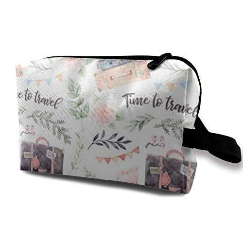Makeup Bag Cosmetic Pouch Time To Travel Fashion Suitcases With Stickers Flowe Multi-Functional Bag Travel Kit Storage Bag