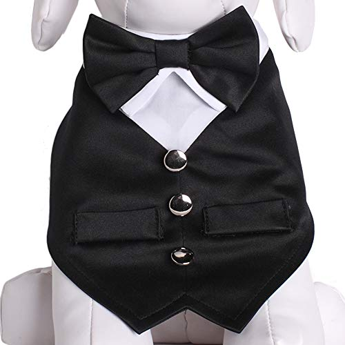 Tail Trends Formal Dog Tuxedo Vest Dog Wedding Bandana with Bow Tie for Special Occasions