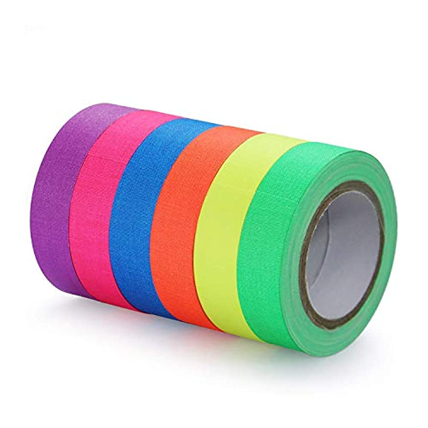 LorRoad - Neon Tape UV Blacklight Glow Reactive Fluorescent - 6 Colors Ultra Bright UV Reactive Tape - 0.59 in x 16 ft/Roll, Glow in The Dark Gaffer Tapes for Black Light Party Supplies