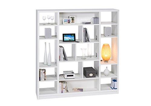 MAJA Möbel Raumteiler mit Cableboard, Holzdekor, Weiß, 178,30 x 40 x 186,10 cm