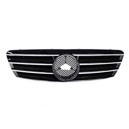MICEROSHE Rejilla del Parachoques del capó Delantero Brillante Coche Negro Frontal Superior Parrilla de la Parrilla Compatible con Mercedes Benz W203 C200 C230 C240 C320 2001-2007 Clase C