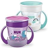 NUK Mini Magic Cup Trinklernbecher 2er-Pack   auslaufsicherer 360°-Trinkrand   ab 6 Monaten   praktische Griffe   BPA-frei   160 ml   mit Leuchteffekt   mehrfarbig