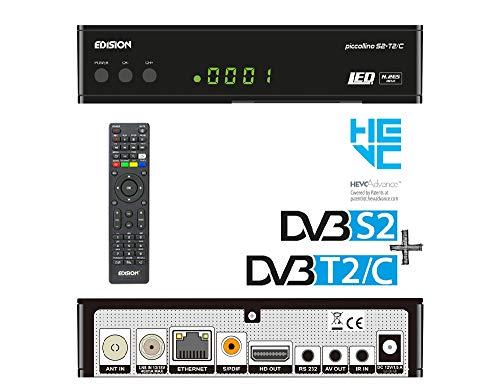 Edision PICCOLLINO S2+T2/C Combo Receiver H.265/HEVC (DVB-S2, DVB-T2, DVB-C) Full HD USB schwarz