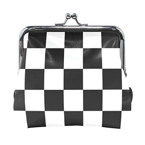 Cartera Tablero de Damas Patrón Blanco y Negro Cuadrado Monedas de ajedrez Monedero Bolsas Cambio de Cuero Titular de la Tarjeta Bolso