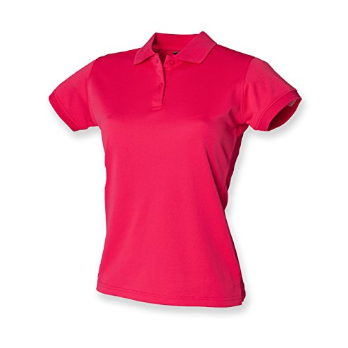 Henbury Damen Coolplus Polo-Shirt / Polohemd, (Medium) (Kräftiges Pink)
