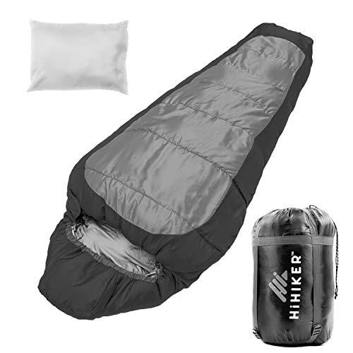 HiHiker Mummy Bag + Travel Pillow w/Compact Compression Sack – 4 Season Sleeping Bag for Adults &...