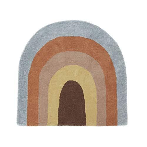 OYOY Mini Kinderzimmer Spielteppich / Teppich Regenbogen Form und Farben Wolle-Baumwolle-Mix - H88 x B90 cm