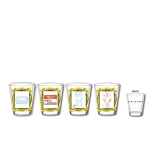 Silver Buffalo Friends Quotes 4-Piece Mini Set Glass, 4 Count (Pack of 1), Clear