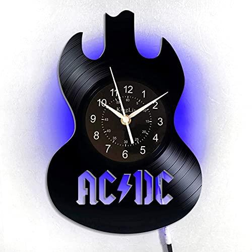 KingLive AC/DC Vinyl Retro Schallplatte Wanduhr Exklusive AC/DC Geschenk Rockmusik Kunst Weihnachten Geschenkidee für Frau (de- led ACDC 1)