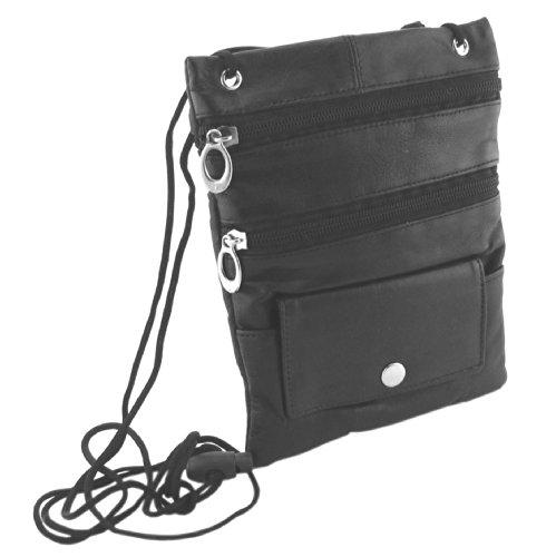 flevado Brusttasche Umhängetasche Leder Brustbeutel (schwarz)