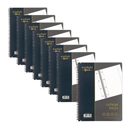 Eastlight Premium 8er Pack Collegeblock A4 kariert, Doppelrand, 4-fach gelocht, 80g/m² Papier Stabile Doppelspiralbindung und praktischer Maßeinheitentabellen, Schulblock Schreibblock