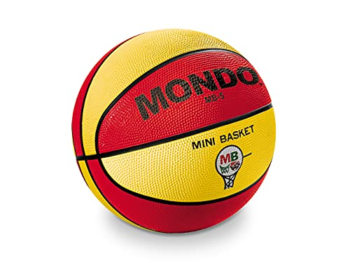 Mondo Sport 13930 - Balón de Baloncesto de tamaño 5, 500 g, Color Amarillo/Rojo