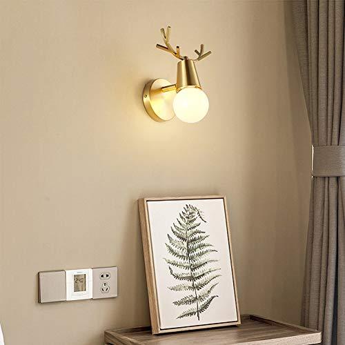 WHSS Luces de pared Después de la Nórdica lámpara de pared moderna minimalista lámpara de salón pasillo cuernos dormitorio cabecera personalidad creativa llena de ciervos cobre lámpara 15 * 17 cm