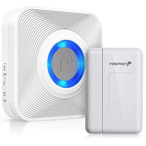 Fosmon Kabellose magnetische Funk-Melder Ladenglocke[Alarmanlage Sensor für Tür, Fenster Haus] Türalarm innen [Wireless] [120 m][LED für Hörgeschädigte]