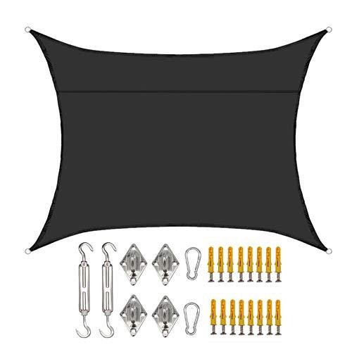 SMLJFO Toldo rectangular de 2 x 3 m, impermeable, con protección solar, para jardín, patio, refugio, kit de fijación/negro