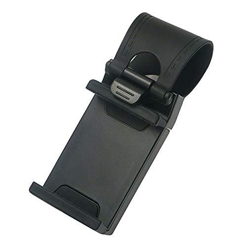 Auto Lenkrad Handyhalter Telefonhalter Phone Halter Universal Handy Einstellbar KFZ Mobiltelefon rutschfest Halterung (Schwarz)