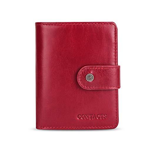 FANDARE Mode Geldbörse Herren mit RFID Damen Kurz Geldbörse Brieftasche Portemonnaie Leder Geldbeutel mit 12 * Kreditkartenfächern, 1*Münzfach, für Reise, Party, Hochzeit, geschäft Rot