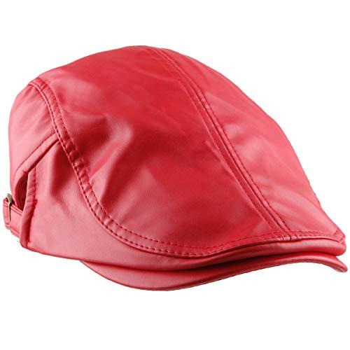 moonsix Newsboys Caps for Men,Beret Leather Hat Gatsby Flat Hats Ivy Driving Cap,Red