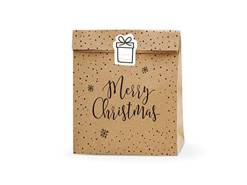 Wundertüte Weihnachten Merry Christmas ca. 25 x 11 x 25 cm, Natur, FERTIG GEFÜLLT, 1 Tüte