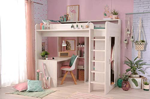 *expendio Hochbett Halmstad 1a Esche 206x189x138 cm Bett mit Schreibtisch und Kleiderschrank Kinderbett Jugendbett*