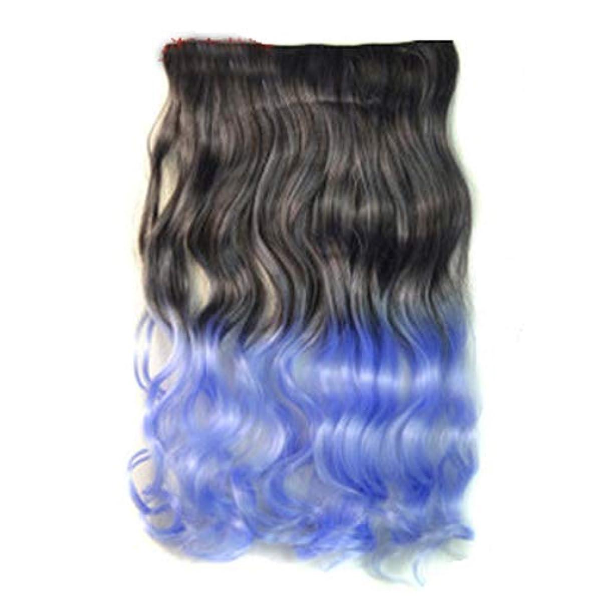 保守的デコレーションたるみWTYD 美容ヘアツール ワンピースシームレスヘアエクステンションピースカラーグラデーション大波ロングカーリングクリップタイプヘアピース