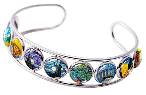 Blazing Autumn Adjustable Cuff Bracelet Art Pattern Under Glass Dome Jewelry Handmade Teens/Woman (Van Gogh with Straw Hat)