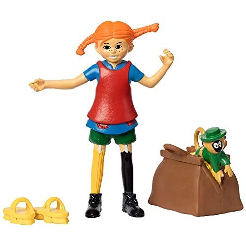Micki & Friends Pippi Langstrumpf Spielzeug Spielfiguren mit Pippi, Herr Nilsson Äffchen, Gold Koffer & Scheuerbürste Schuhe – Puppenhaus Zubehör Figuren Mädchen und Jungen ab 3 Jahren