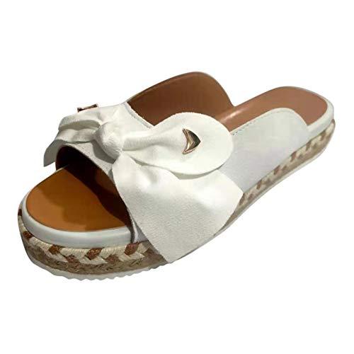 sandali ortopedici donna scarp beige donna espadrillas donna platform open toe donna sandali donna con fiore sandali pianta larga donna (G32-White,38)