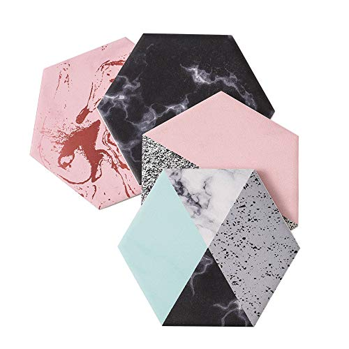 LOVECASA Tasse untersetzer, Porzellan Glasuntersetzer 4 teilig mit Korkrücken, Dekorative Getränkeuntersetzer für Glas, Tassen, Vasen, Kerzen auf ihrem Esstisch aus Holz, Glas oder Stein, Hexagon