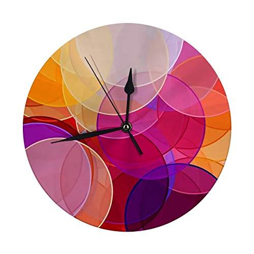 Reloj de pared sin tictac, 24,8 cm, abstracto, minimalista, rojo, naranja, marrón, violeta con círculos, útil como grandes relojes redondos