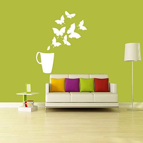 jiushivr Aufkleber Kaffee Tee Tasse Schmetterlinge Vinyl Wandaufkleber Abziehbilder Wandbilder Küche Fliesen Wandkunst Tapete Wohnkultur Haus Dekor 54x80cm