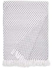 EHC Super Suave Manta de algodón Grande Cubre hasta 2-sofá o Cama de Matrimonio - Gris