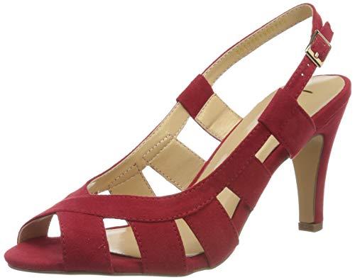 Lotus Dakota, Zapatos de tacón con Punta Abierta Mujer, Rojo (Red RR), 37 EU