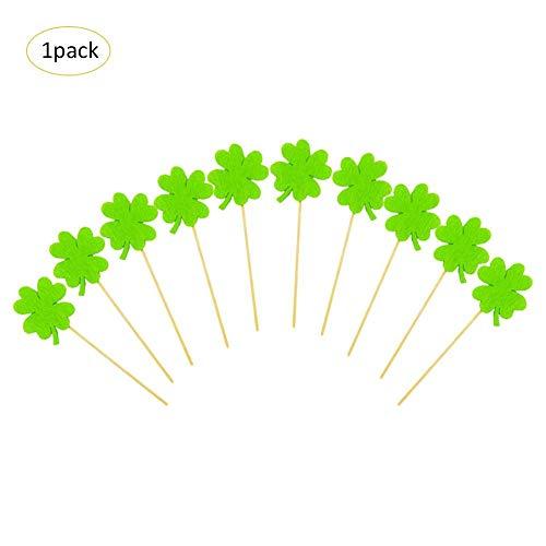 10 STÜCKE St. Patrick Tag Cupcake Topper Flagge Kleeblatt Glück Grün Filz Tuch Vier Blätter Klee Irischen Feiertagsdekorationen Nationalfeiertag Geschenk