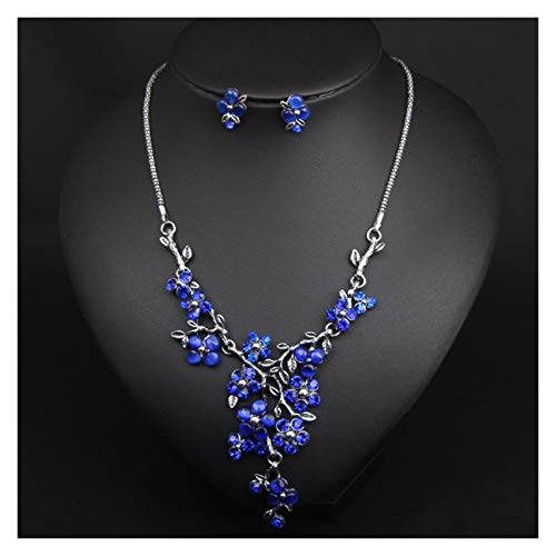 ZCPCS Ramas de Plata Retro Europeas y Americanas Collar de Flores Anillo de Oreja Juego de Joyas Bloqueo Corto Cadena de Hueso Accesorios Femeninos (Color : Blue)