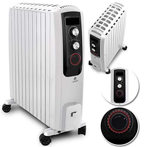 KESSER® 2500W Ölradiator - elektrischer, energiesparender Heizkörper mit 10 Rippen, Timer integrierter Zeitschaltuhr 4 Heizstufen Thermostat Sicherheitsabschaltfunktion Weiß