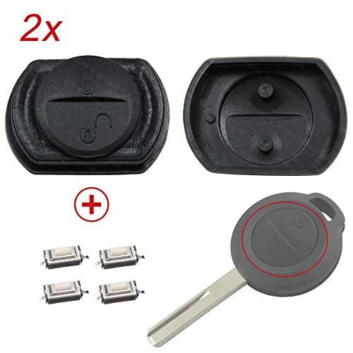 2X Auto Schlüssel Funk Fernbedienung Tastenfeld Gummi + 4X Druckentasten/Mikrotaster kompatibel für Smart Forfour 454 Mitsubishi Carisma Colt Space Star