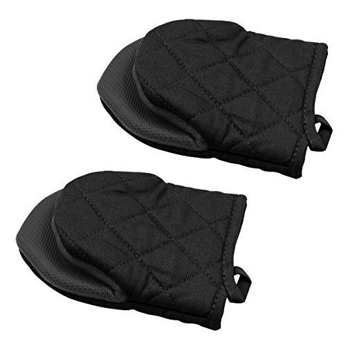 2 Mini-Ofenhandschuhe, rutschfeste Silikon- und Baumwollschutzmatte zum Kochen in der Küche, Grillen (schwarz)