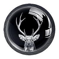 引き出しハンドルドレッサーノブ引き出しノブキャビネットノブ引き出しプルオフィスバスルームキッチンデコレーション用(4個)暗い背景の鹿