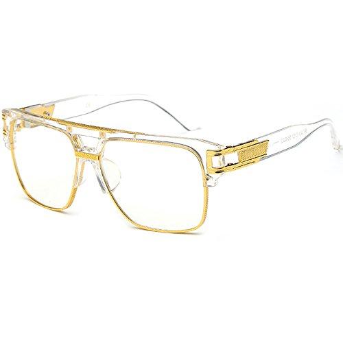 SHEEN KELLY Grote retro zonnebril vierkante pilotenbril heren dames spiegel lenzen luxe eyewear zwart half frame metaal goud UV400 oversized