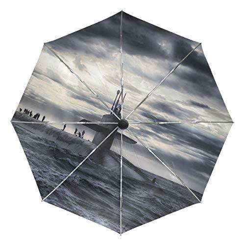 MONTOJ U-Boot On Dark Sea Sun & Rain Travel Regenschirm UV-Schutz mit automatischer Öffnungs-Taste