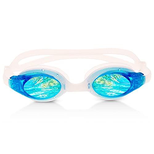 RABIGALA Gafas de natación antivaho, protección UV con tapones para la nariz y funda protectora, para niños, hombres y mujeres (azul claro)