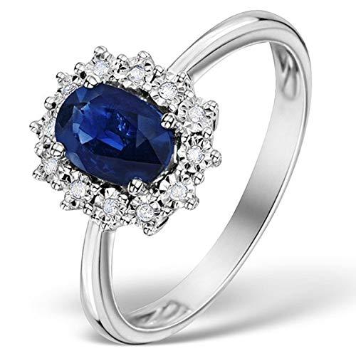 Designer Inspirations Boutique - Anello di fidanzamento in Argento Sterling con zirconi e zaffiro, su imitazione dell'anello di Kate Middleton e della Principessa Diana e Argento, 54 (17.2), cod. SR025ANring