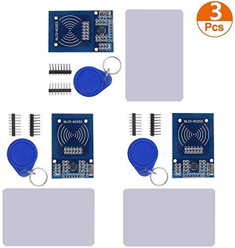 ICQUANZX 3Pcs RFID-Kit Mifare RC522 - Módulo de lectura RFID con tarjeta blanca S50 y llavero para Arduino Raspberry Pi