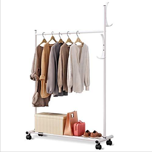 Chenweiweiwei Garderobe met wielen en haken, hoed- en kapstok, eenvoudig te monteren rek, ijzeren buis, hallstand, woonkamer, slaapkamer, Lobby